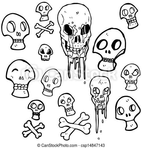 La colección de caricaturas de los cráneos - csp14847143