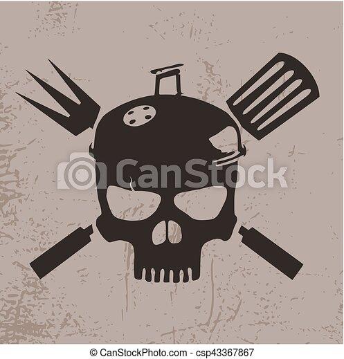 crâne, illustration, barbeque - csp43367867