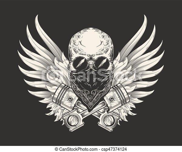 72258d406d97 croquis, crâne, pistons., lunettes soleil, illustration, emblème, t-shirt,  coureur, vecteur, dizan, impression, élément, tatouage, foulard