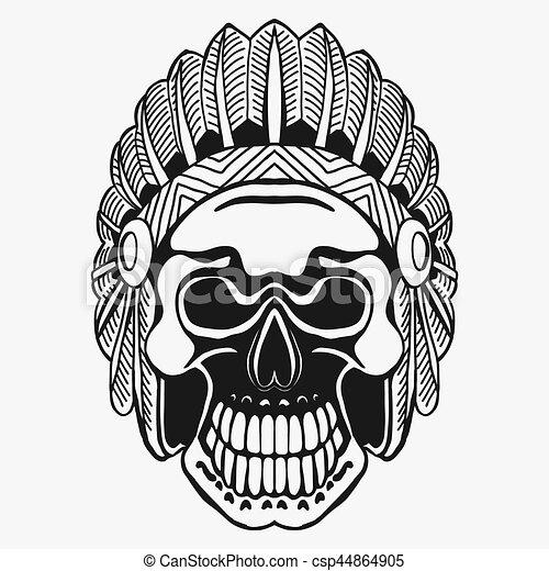 Crâne Tribal Mort Chef Indien Hat Plume