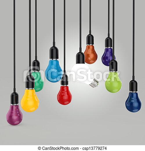 créatif, direction, ampoule, idée, lumière, couleurs, concept - csp13779274