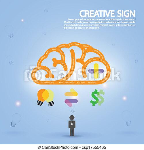 créativité, business, connaissance, cerveau, créatif, icône, signe, symbole, education - csp17555465