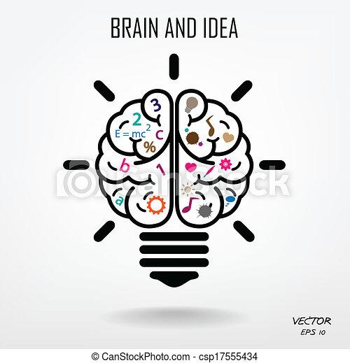 créativité, business, connaissance, cerveau, créatif, icône, signe, symbole, education - csp17555434