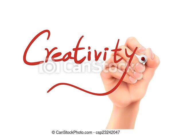 créativité, mot écrit, main - csp23242047