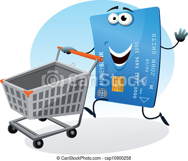 Tenue Centre Carte Marché Rouler Carte Animé Achats Crédit Charrette Dessin Heureux Commercial Rigolote Caractère Illustration