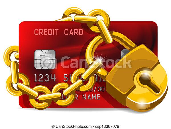 crédit, protection, carte, sous - csp18387079