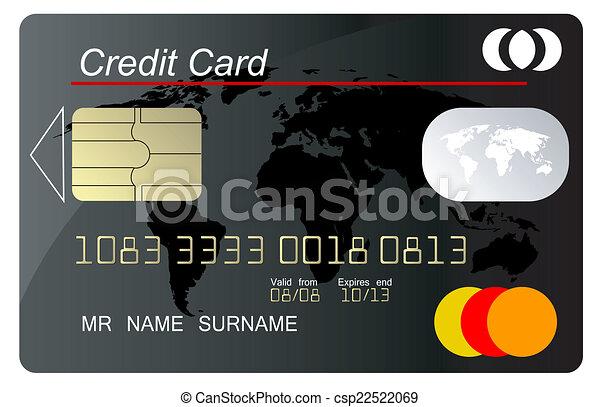 crédit, vecteur, noir, carte, secur - csp22522069