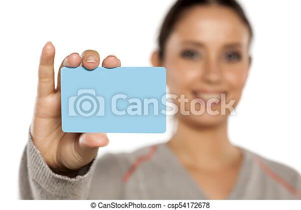 crédito, mulher, cartão, segurando, plástico - csp54172678