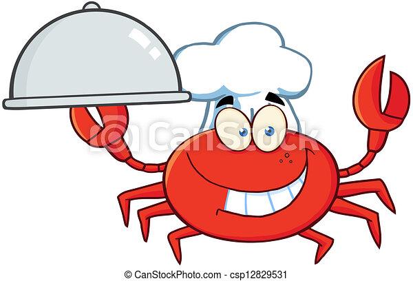 Crab Chef Cartoon Mascot Character  - csp12829531