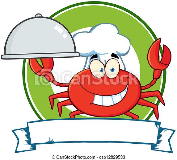Crab Chef Cartoon Mascot Logo - csp12829533