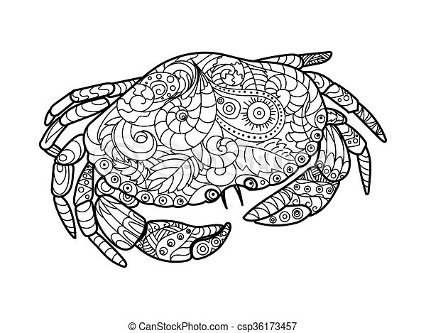 - Crab Coloring Book For Adults Vector. Crab Sea Animal Coloring Book For  Adults Vector Illustration. Anti-stress Coloring For