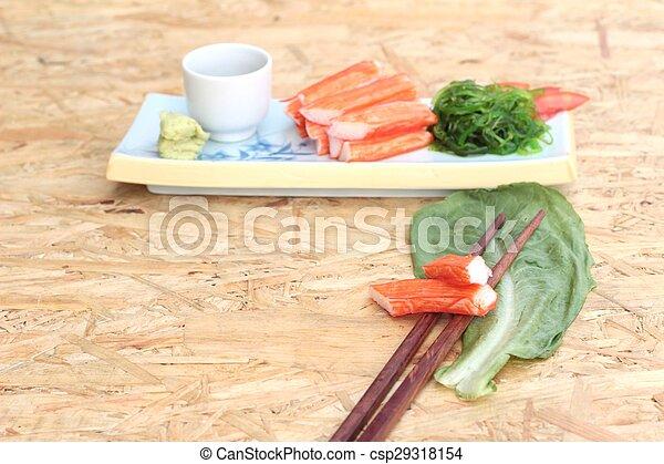 crab sticks on a plate - csp29318154