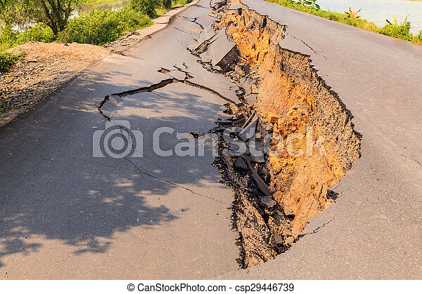 Cracked asphalt road - csp29446739