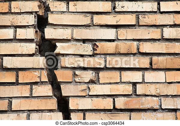 cracked brick wall - csp3064434