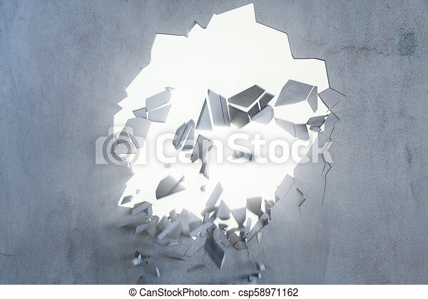 Cracked earth abstract background with volume light rays. Cracked concrete earth abstract background. 3D Rendering - csp58971162