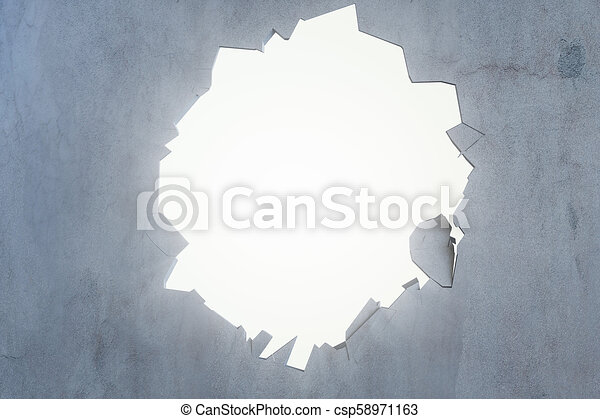 Cracked earth abstract background with volume light rays. Cracked concrete earth abstract background. 3D Rendering - csp58971163