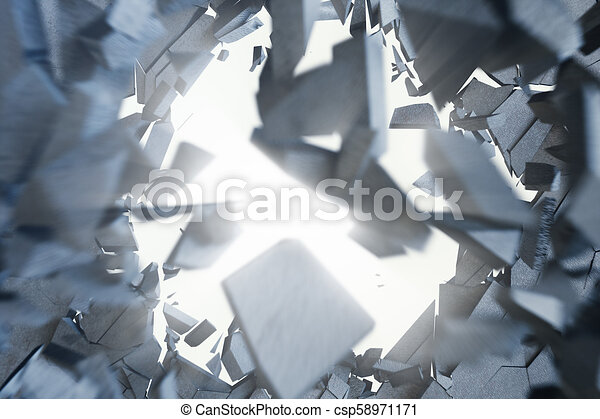 Cracked earth abstract background with volume light rays. Cracked concrete earth abstract background. 3D Rendering - csp58971171