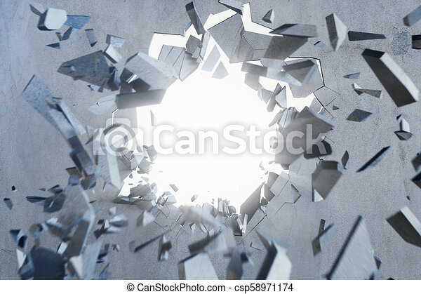 Cracked earth abstract background with volume light rays. Cracked concrete earth abstract background, 3D Rendering - csp58971174