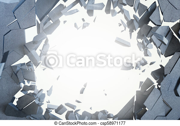 Cracked earth abstract background with volume light rays. Cracked concrete earth abstract background. 3D Rendering - csp58971177