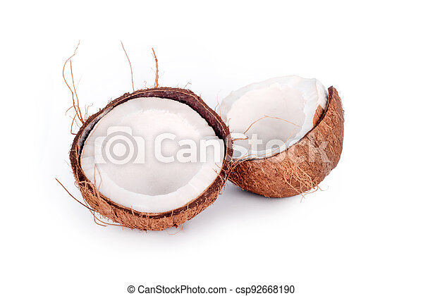 Cracked in half coconut isolated on white background. Halved fresh raw coconut. - csp92668190
