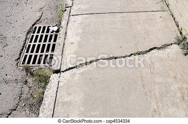 Cracked Urban Sidewalk - csp4534334