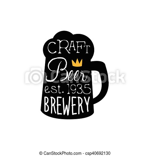 Craft Beer Logo Design Template With Pint Silhouette Black And