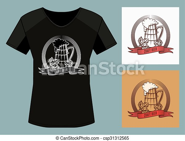 Craft Beer Print Design Template Tshirt Print In Three Color - T shirt graphic design template