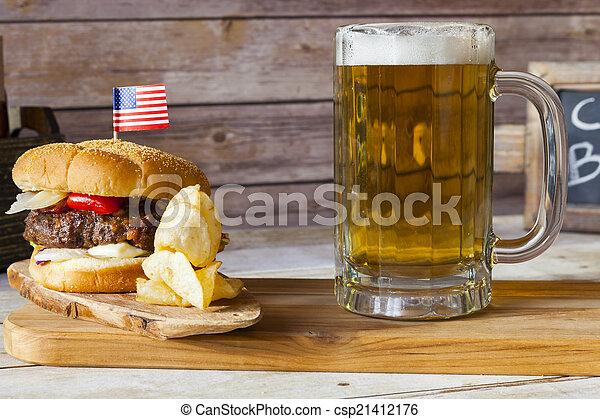 Craft Beer With Hamburger - csp21412176