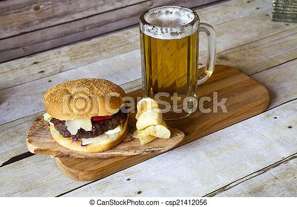 Craft Beer With Hamburger - csp21412056