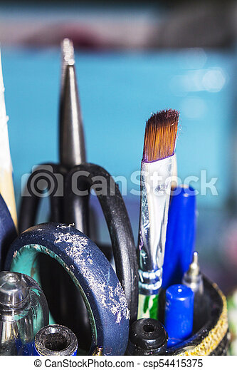 Craft. Hand made. The workplace of the artist. Tools for crafting. - csp54415375