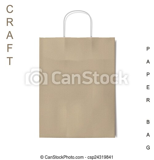 craft paper bag isolated on white background