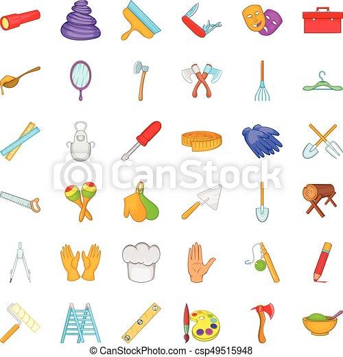 Craft Tool Icons Set Cartoon Style Craft Tool Icons Set Cartoon
