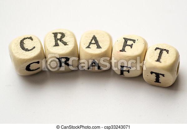 Craft Word with Wooden Alphabet Blocks - csp33243071