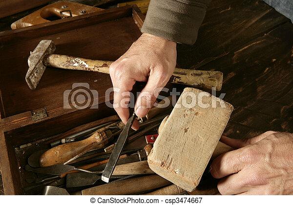 craftman carpenter hand tools artist - csp3474667