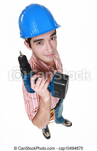 craftsman holding a drill - csp10494870