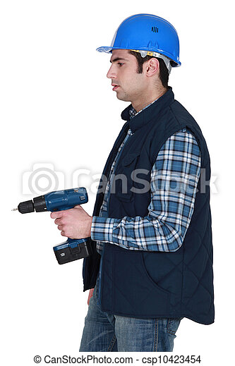 craftsman holding a drill - csp10423454