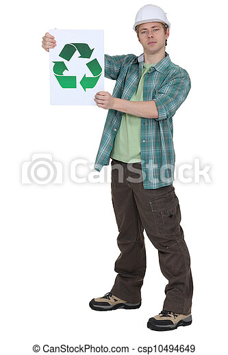 craftsman holding a recycling label - csp10494649