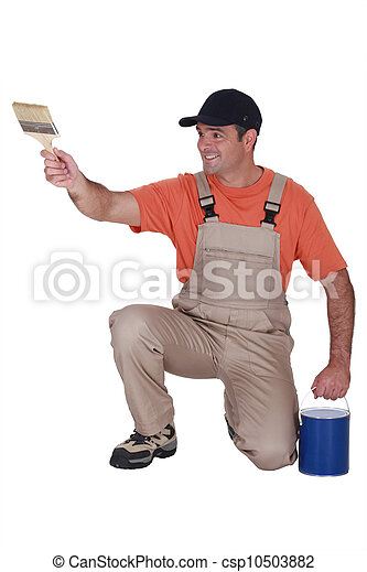 craftsman painter holding a brush and a can - csp10503882