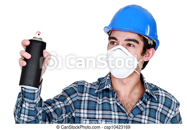 craftsman painter holding a spray - csp10423169