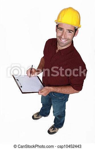 craftsman taking notes - csp10452443