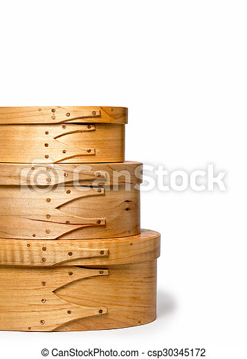 Craftsmanship - Details of Stacked Hand Made Shaker Boxes - csp30345172