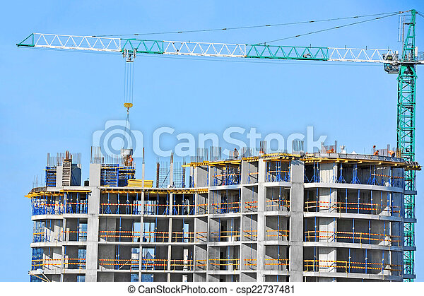 Crane and construction site - csp22737481