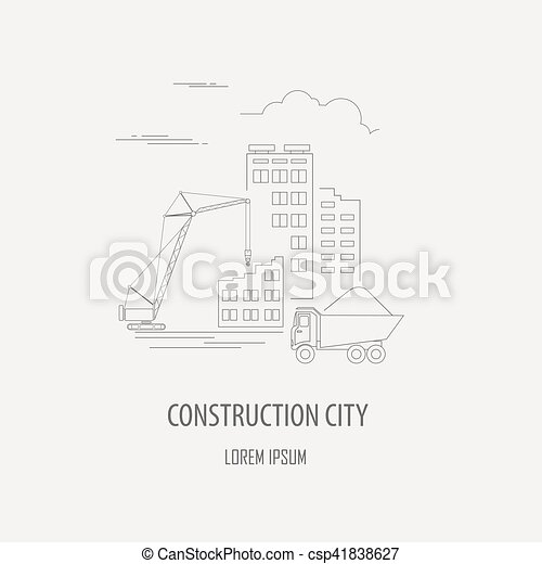 Crane and lifting machine logo and badge template outline... vector ...
