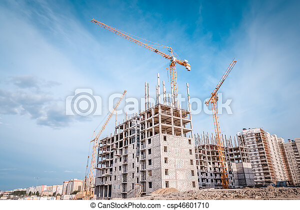 Crane and new building project - csp46601710
