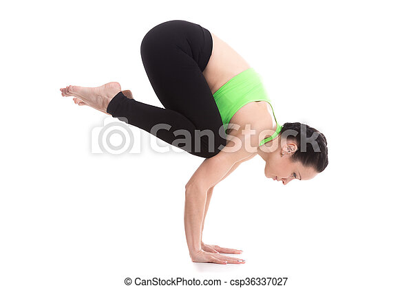crane crow yoga handstand pose beautiful sporty girl