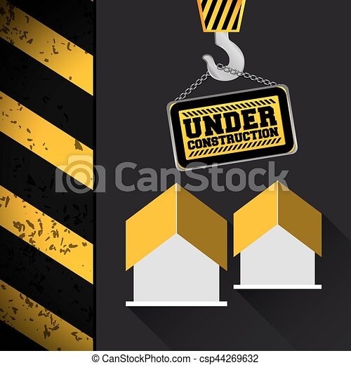 crane hang sing house under construction - csp44269632