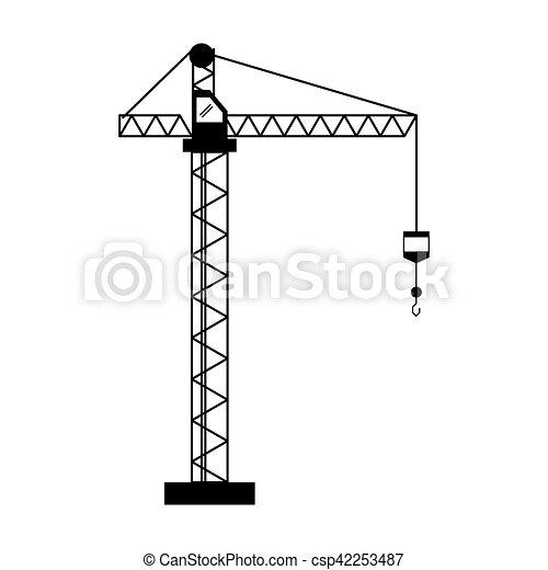 Crane hook construction machine pictogram vector - Dessin de grue ...