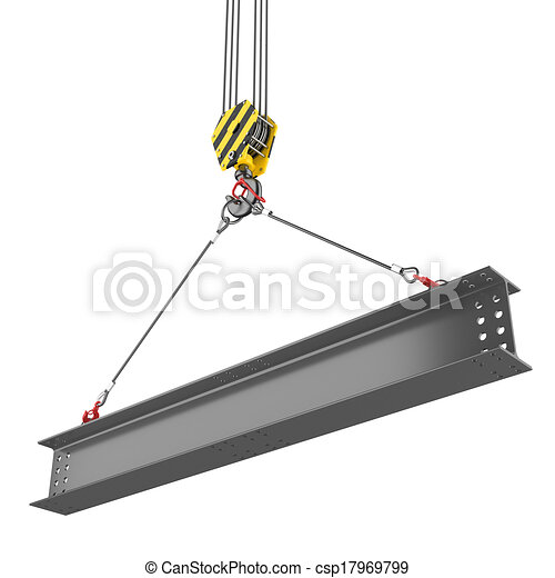 Crane hook lifting of steel beam - csp17969799
