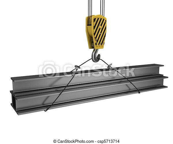 Crane hook lifts up few H girders - csp5713714
