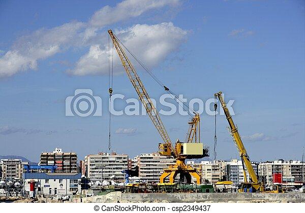 Crane in Santa Pola harbor, Spain - csp2349437